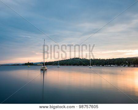 Sailboats On Grand Marais Harbor At Sunset 3