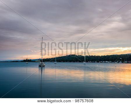 Sailboats On Grand Marais Harbor At Sunset 4