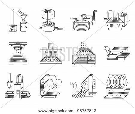 Vector icons for food processing industry