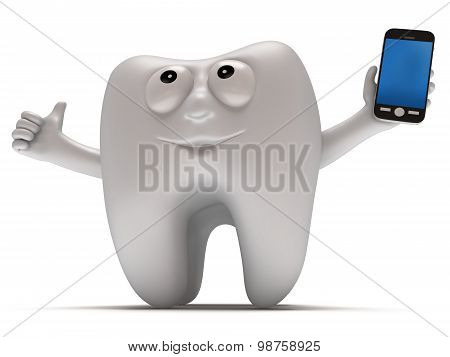 Happy Tooth With Smartphone.