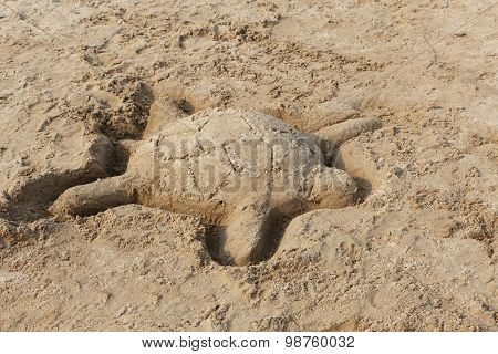 Sand Sculpture Of A Turtle