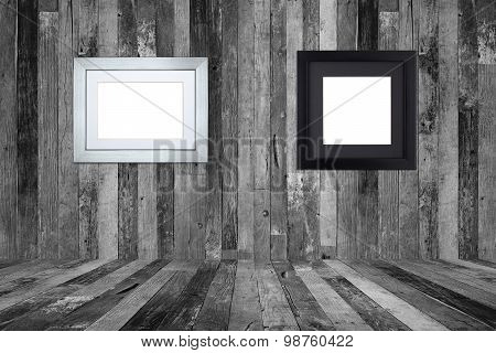 Picture Frames On The Old Wooden Wall