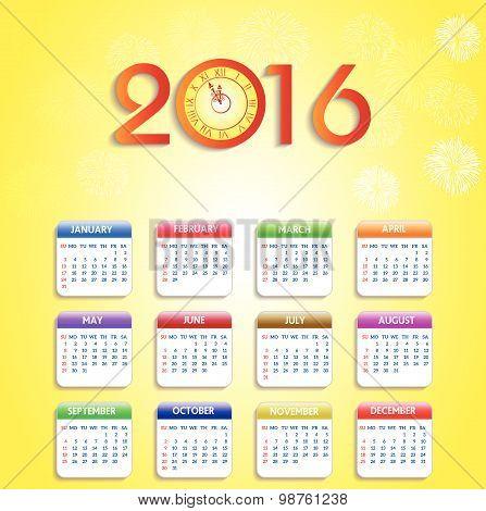 Calendar 2016 happy new year vector illustration