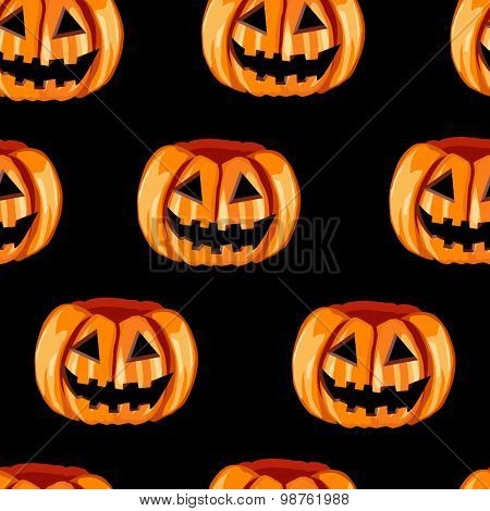 Seamless pattern with scary pumpkins