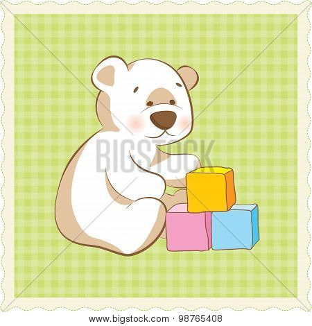 Doodle style kid's teddy bear illustration