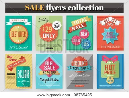 Set of colorful Sale flyers. Best creative design for Sale and Discount Offers poster, placard, broc