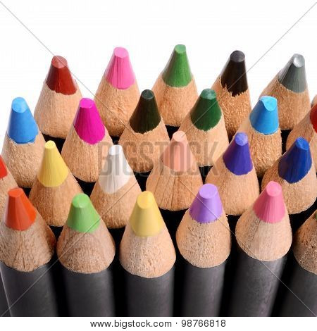 Close Up Of A Group Of Colored Pencils.