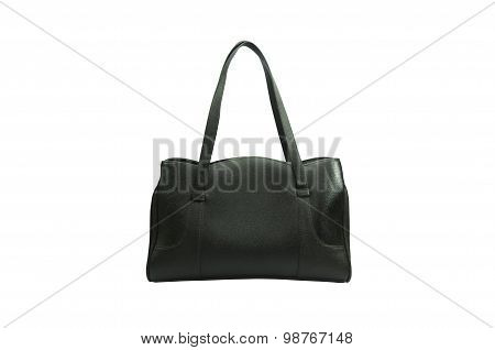 Black woman bag isolated on white background.