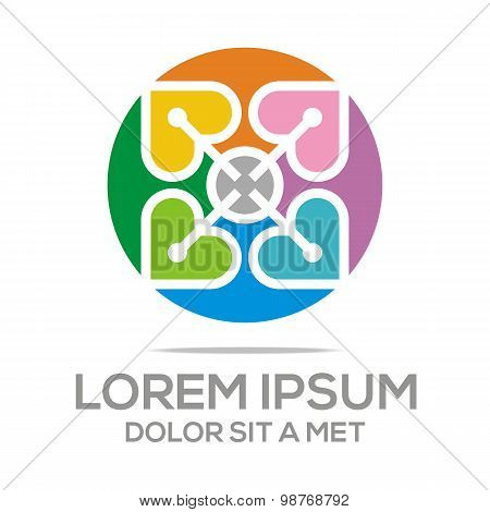 Logo icon infinity love couple vector