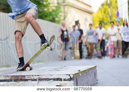 Boys skateboarding on street. Urban life.