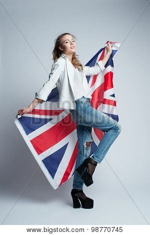 beautiful girl with flag of Britain