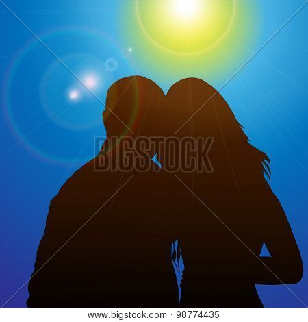Silhouette Couples In The Sunshine
