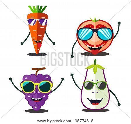 Funny Fruits Set. Design Cartoon Food Slices Of Carrot, Tomato, Grape, Eggplant.