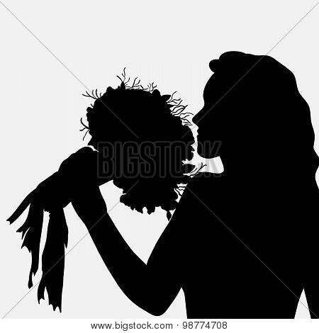 Silhouette Of A Girl With Flowers