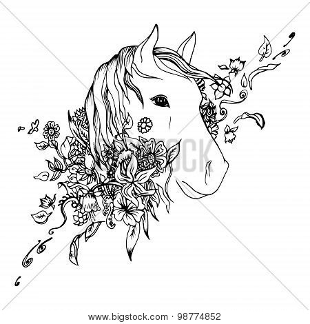 Abstract graphic horse head, print.