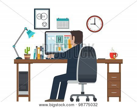 Designer In The Workplace, Workstation. Creative Equipment In Office Interior.