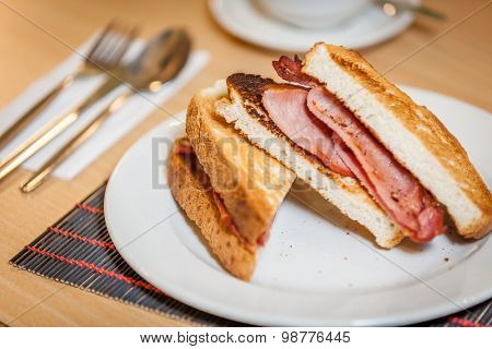 Breakfast bacon sandwich