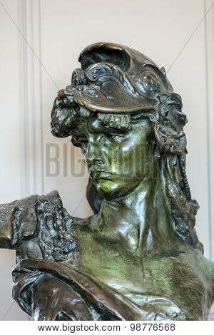 PARIS, FRANCE - SEPTEMBER 12, 2014: Paris - Museum Rodin. The bronze bust of Bellona