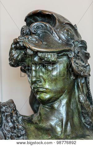 PARIS, FRANCE - SEPTEMBER 12, 2014: Paris - Museum Rodin. The bronze bust of Bellona