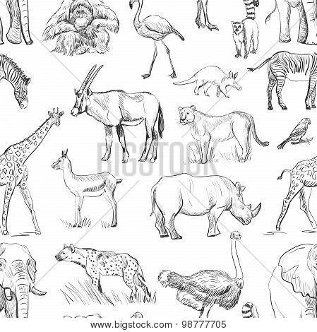Seamless animal planet pattern