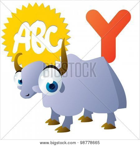 Funny vector cute animals ABC: Y is for Yak