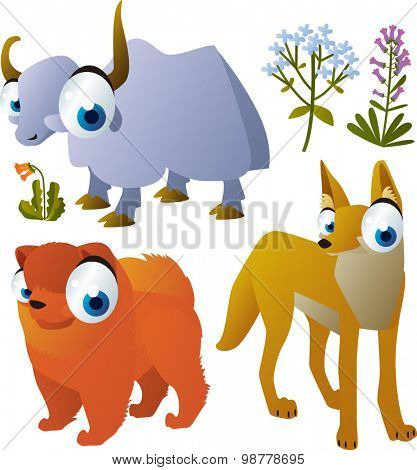 funny vector animals set: yak, chow chow dog, coyote