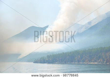 The shore of Lake Baikal in the smoke
