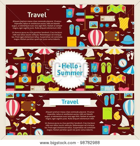 Hello Summer And Travel Concept Vector Template Banners Set In Modern Flat Style