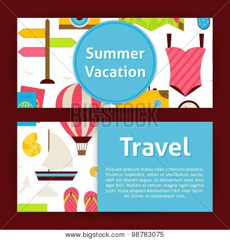 Summer Vacation Concept And Travel Strategy Modern Flat Style Vector Template Banners Set
