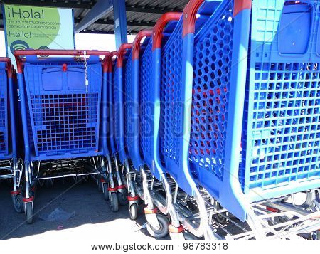 Blue Shopping Trolleys