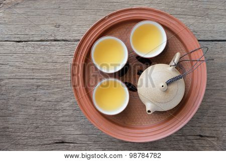 Chinese tea set on wooden Closeup, Chinese tea