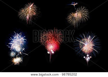 Individual colorful fireworks isolated on black background.