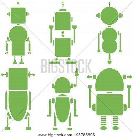 Plain Vintage retro robots 2 icons set in green  set of 6  ( set B)