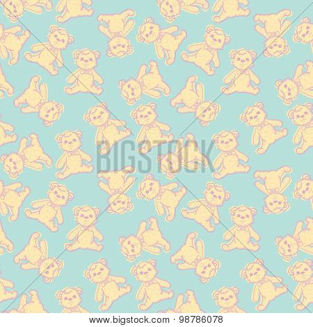 Seamless Baby Background With Teddy Bear