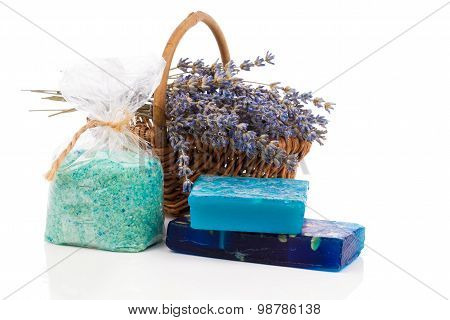 Spa Still Life With Handmade Soaps, Lavender Flowers And Bath Salt, On White Background.