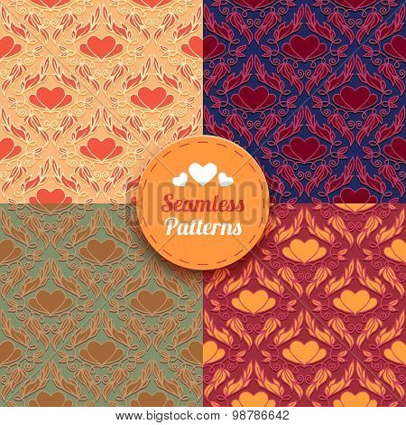 Seamless Patterns Set With Heart