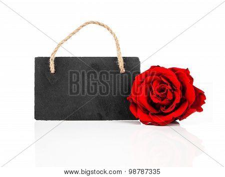 Blackboard With Rose Flowers,