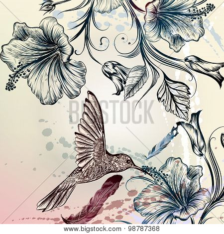 Vector Back Or Pattern With Birds And Flowers