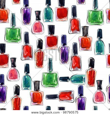 Bottles Of Nail Polish. Seamless Background Pattern