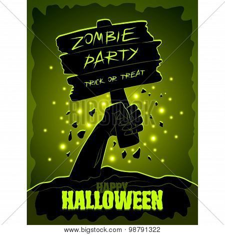 Halloween Poster Zombies Hand And Wooden Sign
