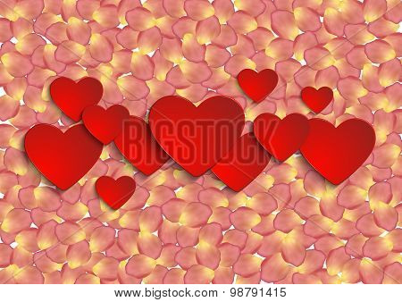 Paper Hearts With Rose Petal Background