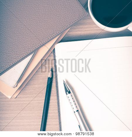 Open Notebook With Book And Coffee Cup Vintage Style