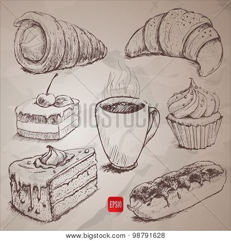 Confectionery. set of vector sketches