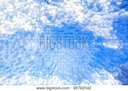 Extrude Blue Sky And White Cloud