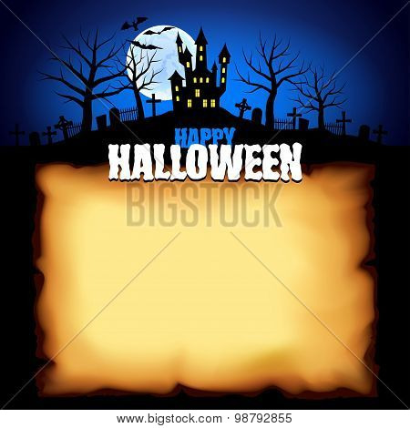 Castle Behind Sheet Of Paper Halloween Background