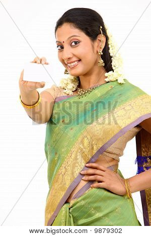 teenage girl with credit card in silk sari