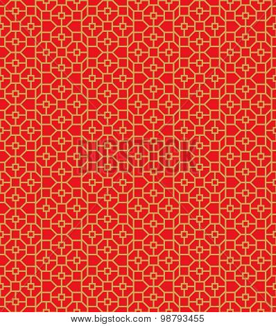 Golden seamless Chinese window tracery polygon square pattern background.