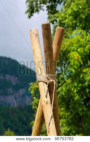Scout Construction With Poles And Ropes