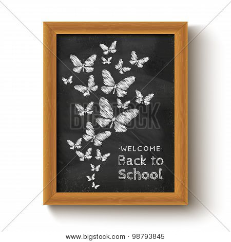 butterflys on chalkboard