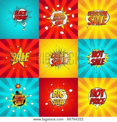 Set of pop art comic sale discount promotion vector illustration.